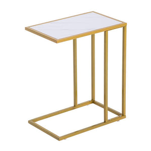 White and gold marble side table - Home Happy Hour
