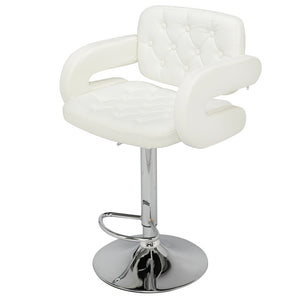 Two adjustable height bar stools with armrest - White / Black