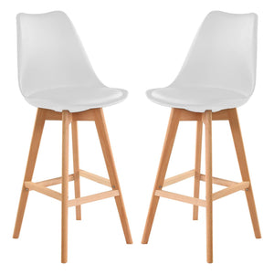 Two Ergonomics Design Bar Stools - White - Home Happy Hour