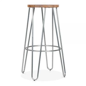 Natural wood seat bar stool - galvanised