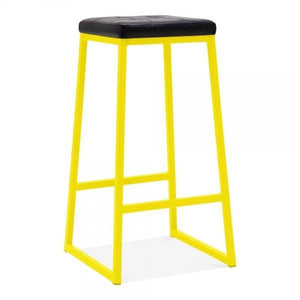 Faux leather seat copper metal bar stool - yellow - Home Happy Hour