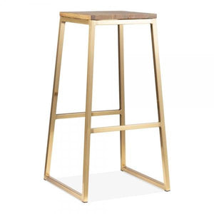 Sold elm wood seat metal bar stool - Brass - Home Happy Hour