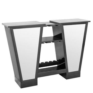 Abena Mirrored Bar Unit In Black High Gloss With Glass Tops - Home Happy Hour