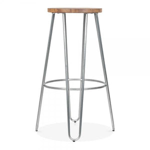 Natural wood seat bar stool - galvanised - Home Happy Hour