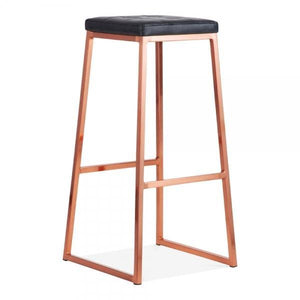 Faux leather seat copper metal bar stool - Home Happy Hour