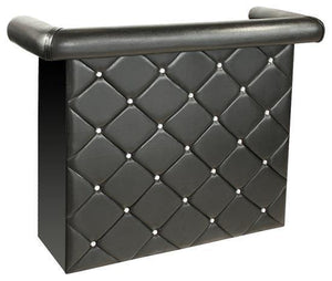 Diamonte Bar Unit In Black Faux Leathe