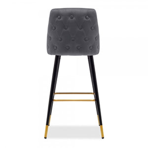 Velvet upholstered bar stool with back rest
