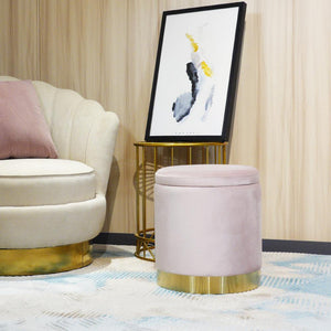Ottoman Round Velvet Modern Footrest - white, grey or pink - Home Happy Hour