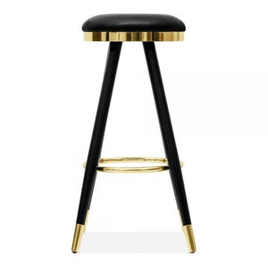 Brass faux leather upholstered bar stool