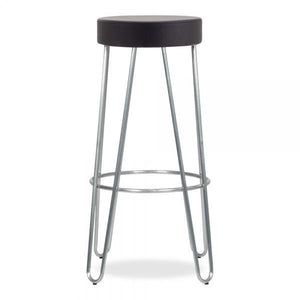 Galvanised metal faux leather seat bar stool - Home Happy Hour
