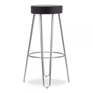 Galvanised metal faux leather seat bar stool