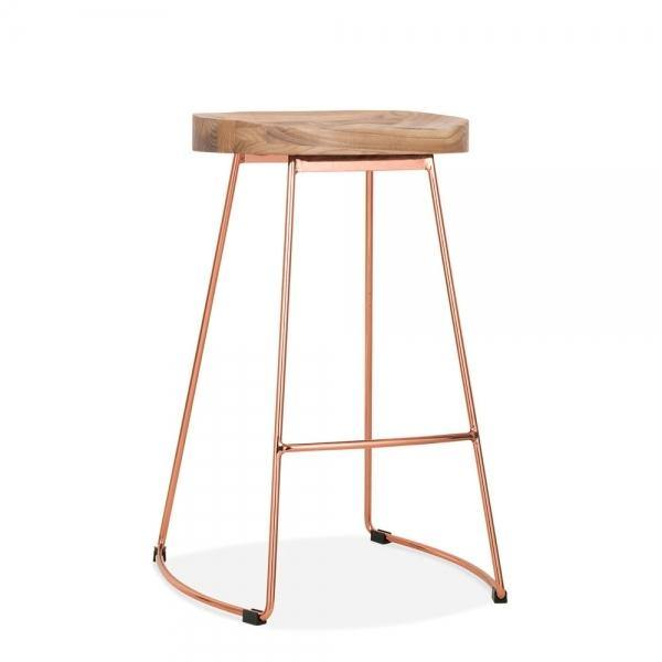 Solid elm wood seat metal bar stool - Copper
