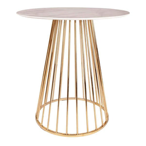 Marble Effect Bar Table - White with Gold Legs - Home Happy Hour