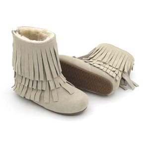 Women's Fur and Fringe Boots READY TO SHIP