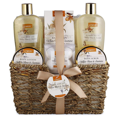 Home Spa Gift Basket - White Rose & Jasmine - Luxurious 11 Piece Bath & Body Set For Men & Women, Contains Shower Gel, Bubble Bath, Body Lotion, Scrub, Bath Salt, 4 Bath Bombs, Loofah & Basket - FLJ CORPORATIONS