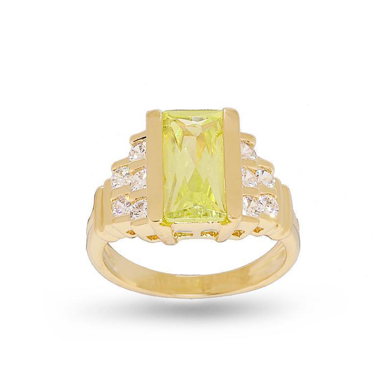 Contemporary Fancy Cut Bright Lemon Green Step Design Ring - FLJ CORPORATIONS