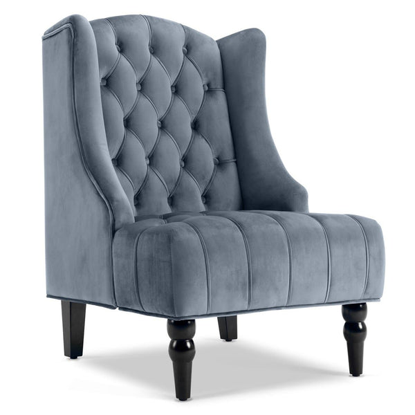 Belleze Modern Wingback Tufted NailHead Accent Chair Tall Back Velvet Wing Chair, Gray - FLJ CORPORATIONS