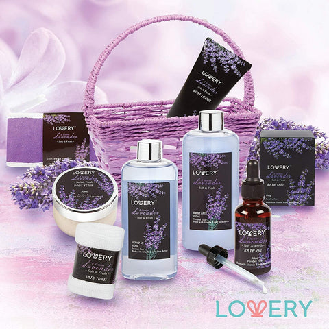 Home Spa Gift Basket, Luxurious 9 Piece Bath & Body Set for Women/Men, Lavender & Jasmine Scent - Contains Shower Gel, Bubble Bath, Body Lotion, Bath Salt, Scrub, Massage Oil, Loofah & Basket - FLJ CORPORATIONS
