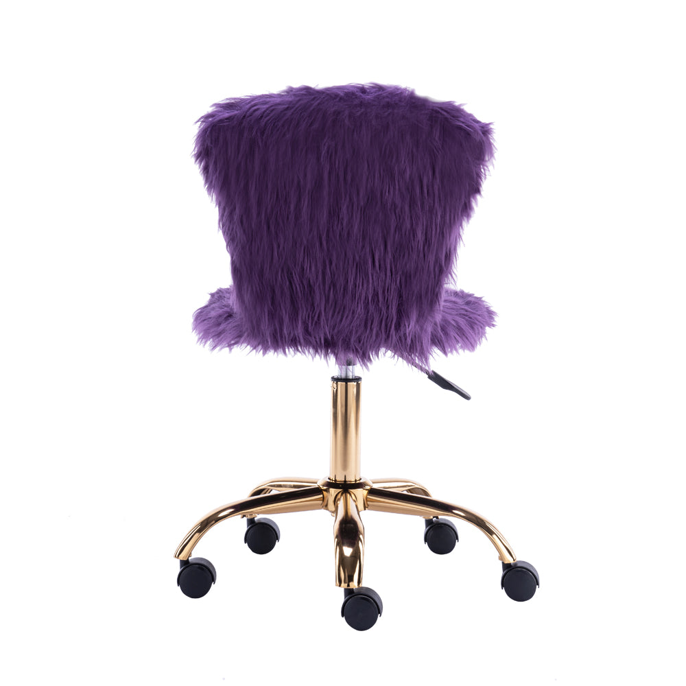 GIA Design Group Faux Fur Adjustable Swivel Vanity Chair, Purple - FLJ CORPORATIONS