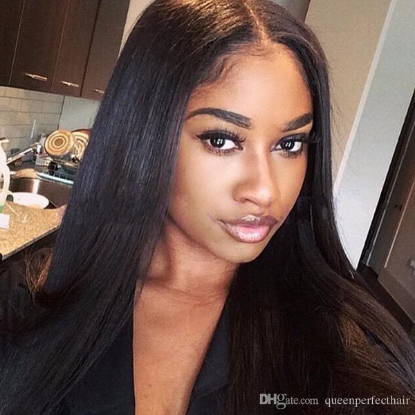 Brazilian Black Long Silky Straight Full Wigs Human Hair Heat Resistant Glueless Synthetic Lace Front Wigs for Black Women - FLJ CORPORATIONS
