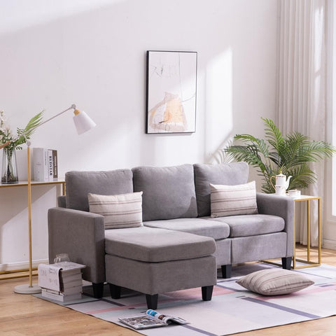 Ktaxon Reversible Sectional Sofa Couch, L-Shaped Couch with Modern Linen Fabric for Small Space Light Grey