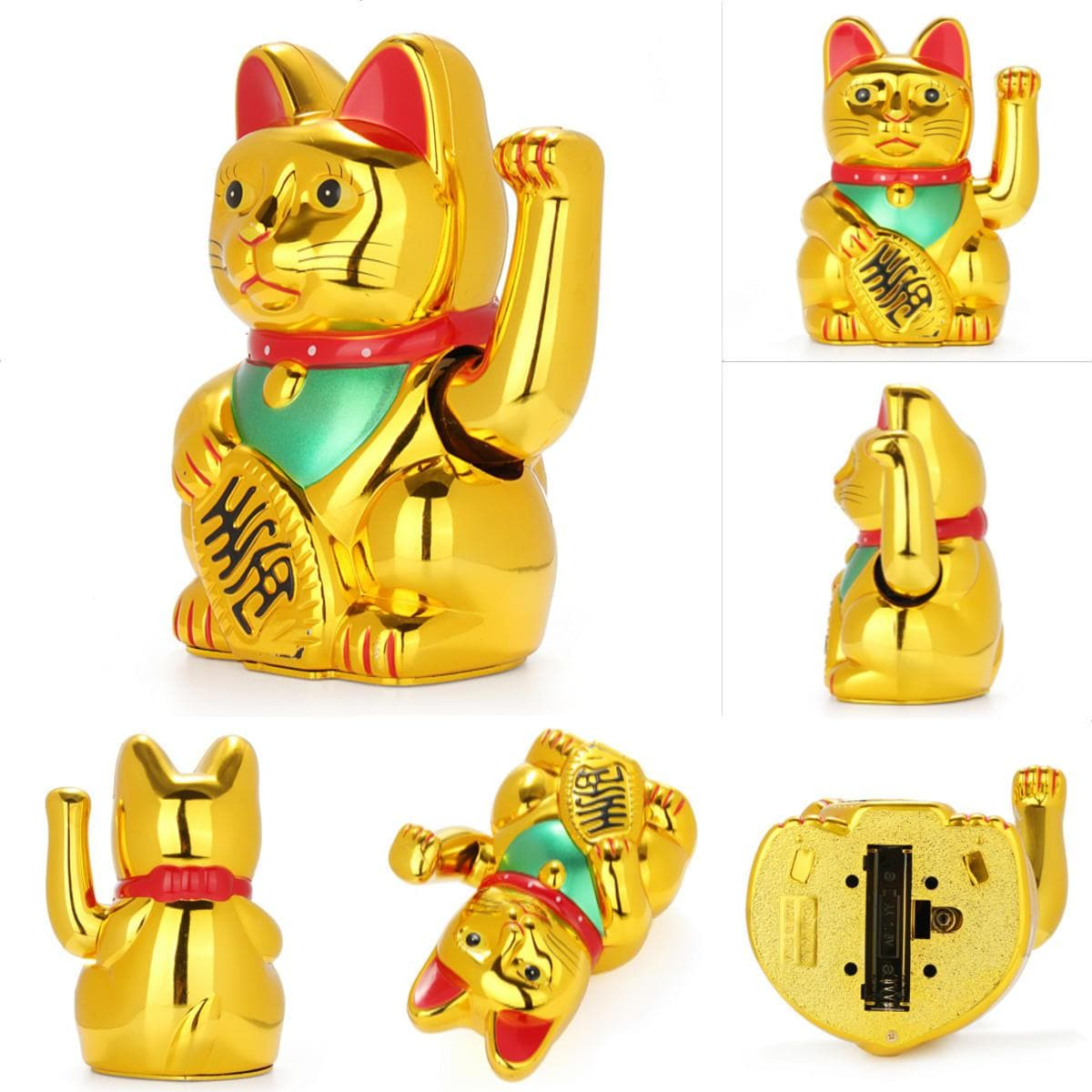 "6"" Chinese Lucky Waving Hand Maneki Neko Gold Fortune Feng Shui Cat Moving Arm Doll - FLJ CORPORATIONS"