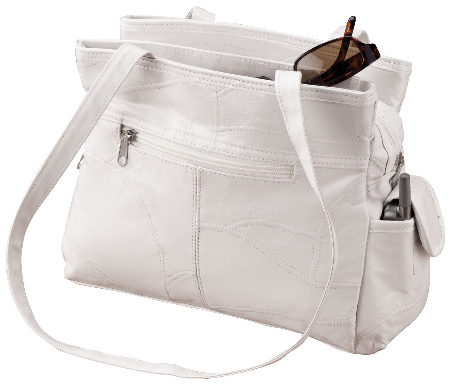 White Patch Leather Handbag - FLJ CORPORATIONS