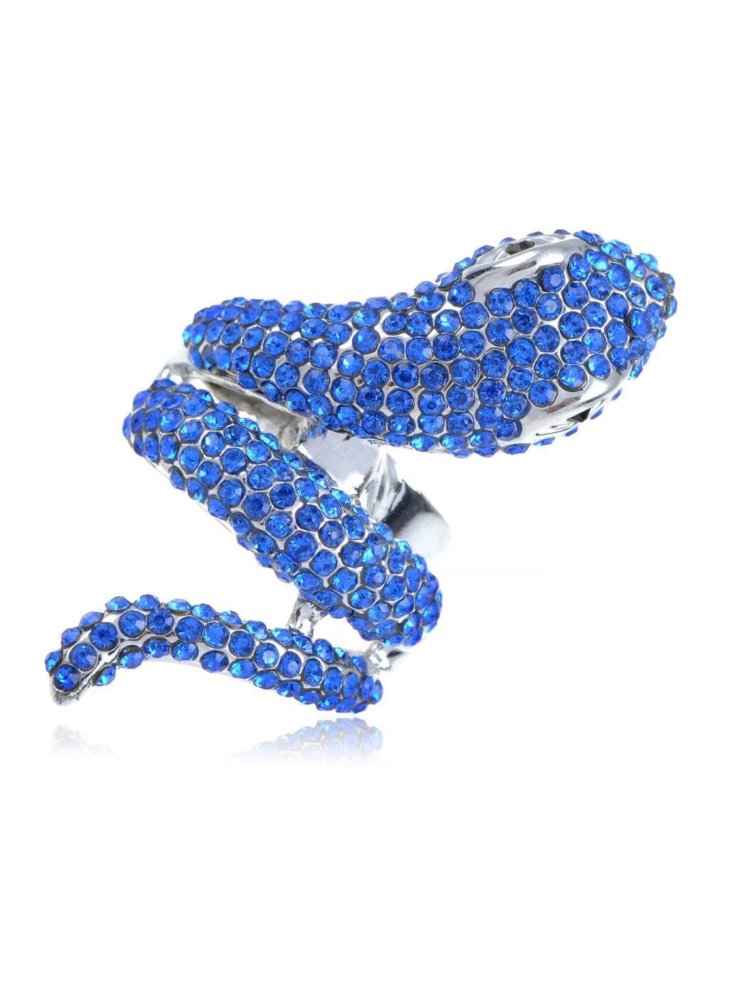 Bright Blue Serpent Snake Finger Wrap Fashion Custom Jewelry Statement Ring - FLJ CORPORATIONS