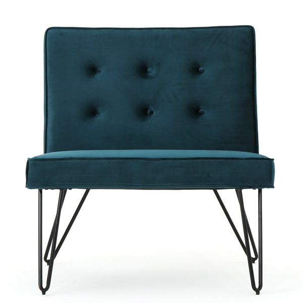 DuSoleil New Velvet Modern Armless Chair, Teal - FLJ CORPORATIONS