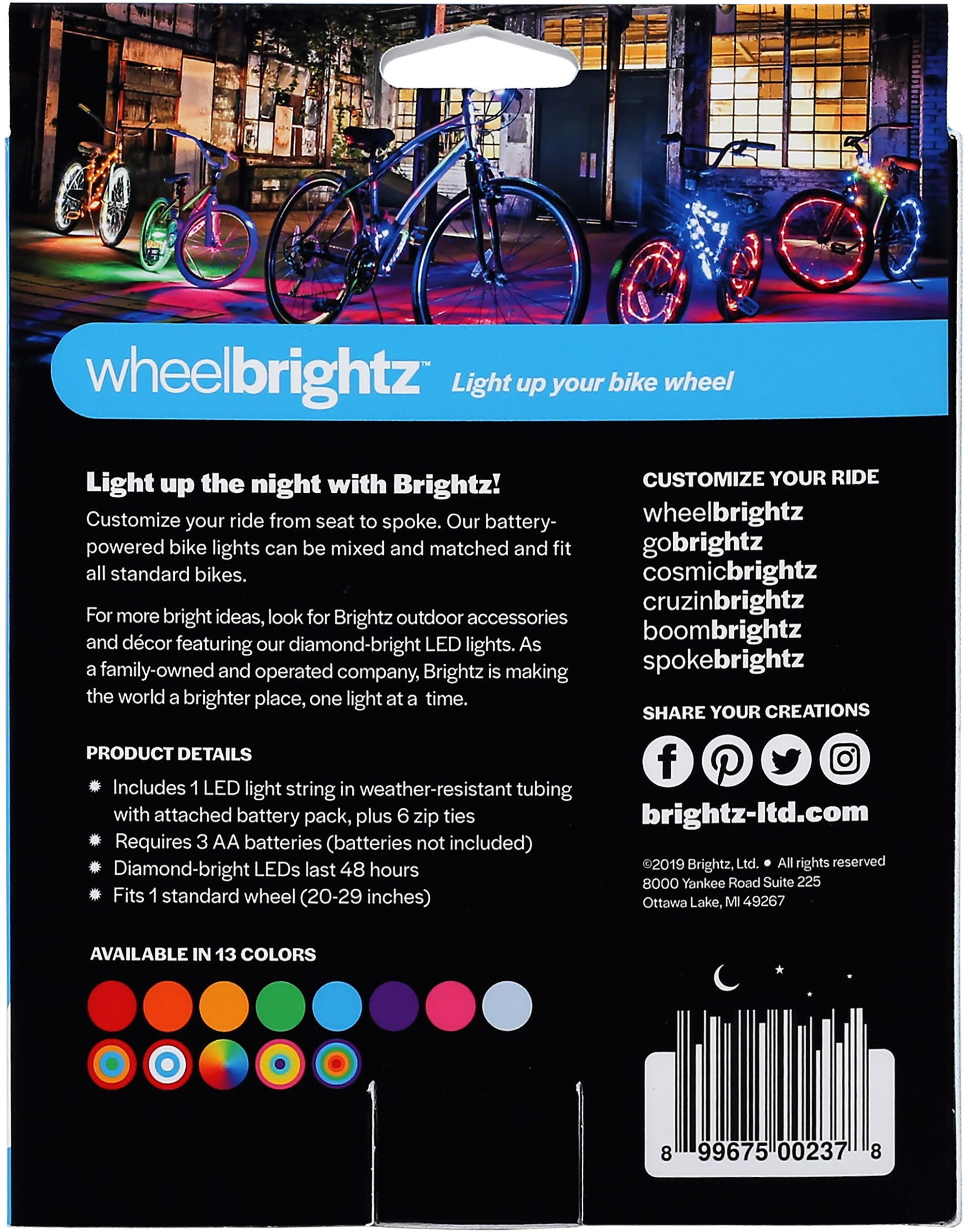Wheel Brightz LED Bicycle Wheel Accessory Light, Blue, for 1 Wheel - FLJ CORPORATIONS