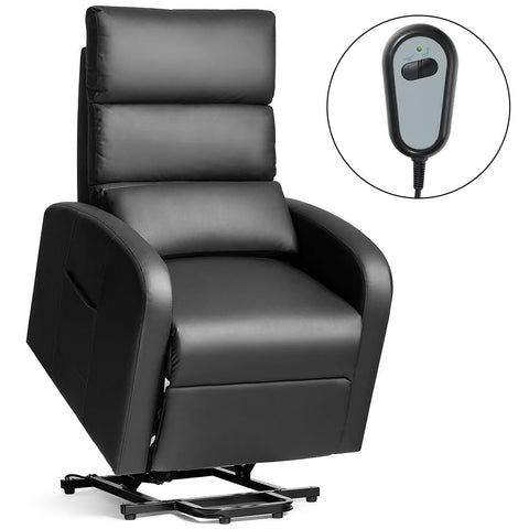 Costway Electric Power Lift Sofa Leather Home Recliner w/Waist Cushion&Side Pocket Black - FLJ CORPORATIONS