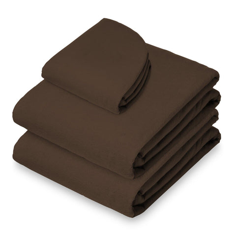 Saloniture 3-Piece Flannel Massage Table Sheet Set - Soft Cotton Facial Bed Cover - Includes Flat and Fitted Sheets with Face Cradle Cover - Chocolate Brown - FLJ CORPORATIONS