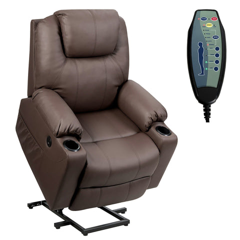Costway Electric Recliner Chair Massage Sofa Leather w/ USB Charge Port Brown - FLJ CORPORATIONS