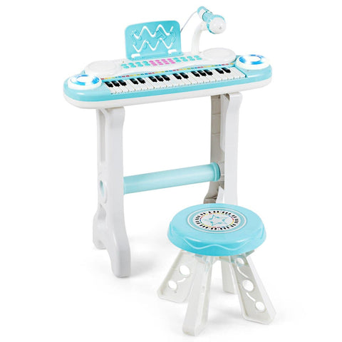 Costway 37-Key Kids Piano Keyboard Playset Electronic Organ Light Blue