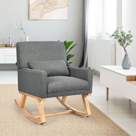 CostwayMid Century Rocking Chair Fabric Upholstered Armchair with Lumbar Support Gray - FLJ CORPORATIONS