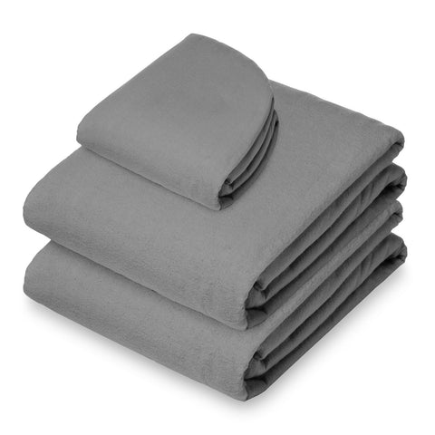 Saloniture 3-Piece Flannel Massage Table Sheet Set - Soft Cotton Facial Bed Cover - Includes Flat and Fitted Sheets with Face Cradle Cover - Gray - FLJ CORPORATIONS