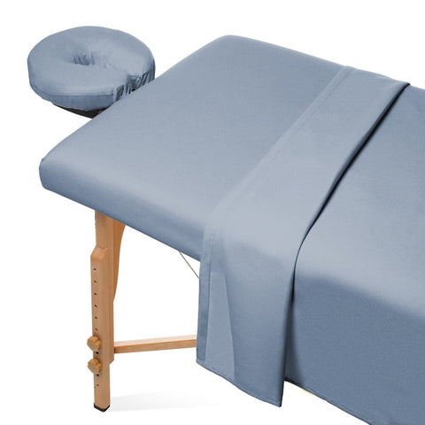 Saloniture 3-Piece Flannel Massage Table Sheet Set - Soft Cotton Facial Bed Cover - Includes Flat and Fitted Sheets with Face Cradle Cover - Cornflower Blue - FLJ CORPORATIONS