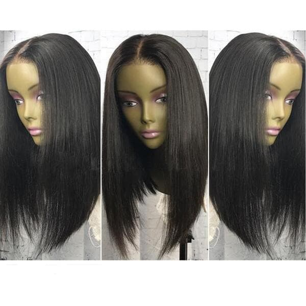 Natural Soft Black Bob Straight Hair Glueless Synthetic Lace Front Wigs For Black Women Heat Resistant Cheap Wigs with Baby Hair - FLJ CORPORATIONS