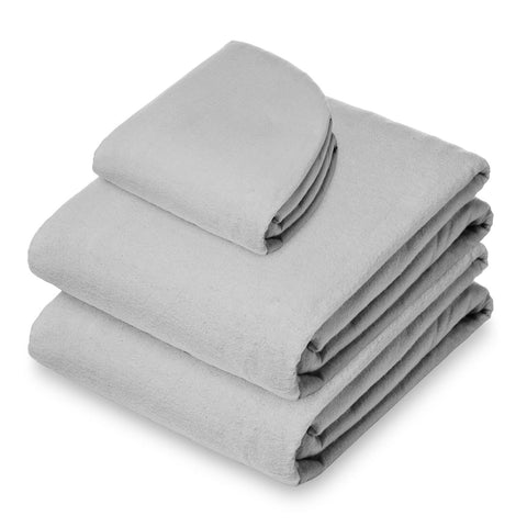 Saloniture 3-Piece Flannel Massage Table Sheet Set - Soft Cotton Facial Bed Cover - Includes Flat and Fitted Sheets with Face Cradle Cover - Light Gray - FLJ CORPORATIONS