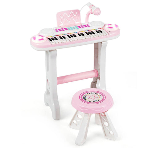 Costway 37-Key Kids Piano Keyboard Playset Electronic Organ Light Pink