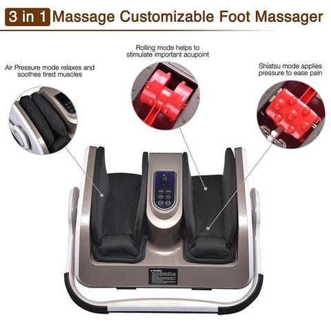 Yescom Electric Foot Massage Machine 360° Adjustable with Heat Shiatsu Roller Vibration - FLJ CORPORATIONS