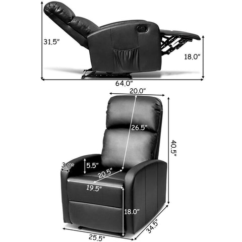 Costway Massage Recliner Chair PU Leather Padded Seat Ergonomic Lounge Foldable Footrest - FLJ CORPORATIONS