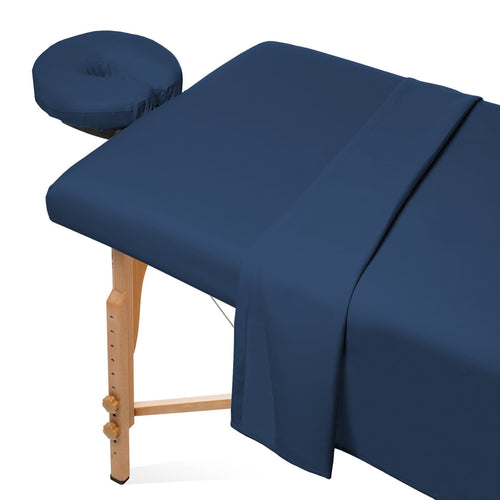 Saloniture 3-Piece Microfiber Massage Table Sheet Set - Premium Facial Bed Cover - Includes Flat and Fitted Sheets with Face Cradle Cover - Navy Blue - FLJ CORPORATIONS
