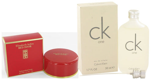Gift set  RED DOOR by Elizabeth Arden Body Powder 2.6 oz And  CK ONE EDT Pour/Spray (Unisex) 1.7 oz - FLJ CORPORATIONS