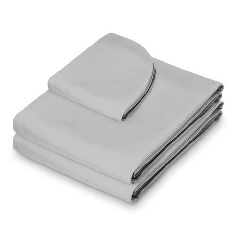 Saloniture 3-Piece Microfiber Massage Table Sheet Set - Premium Facial Bed Cover - Includes Flat and Fitted Sheets with Face Cradle Cover - Light Gray - FLJ CORPORATIONS