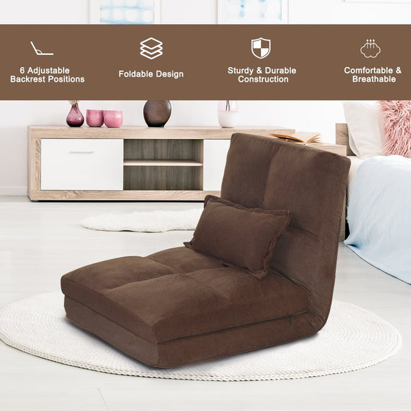 Costway Fold Down Chair Flip Out Lounger Convertible Sleeper Couch Futon Bed - FLJ CORPORATIONS