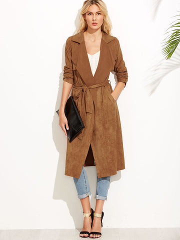Brown Suede Self Tie Duster Coat - FLJ CORPORATIONS