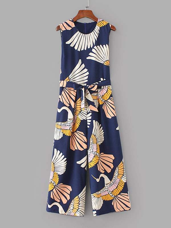 Cranes Print Belted Wide Leg Jumpsuit - FLJ CORPORATIONS