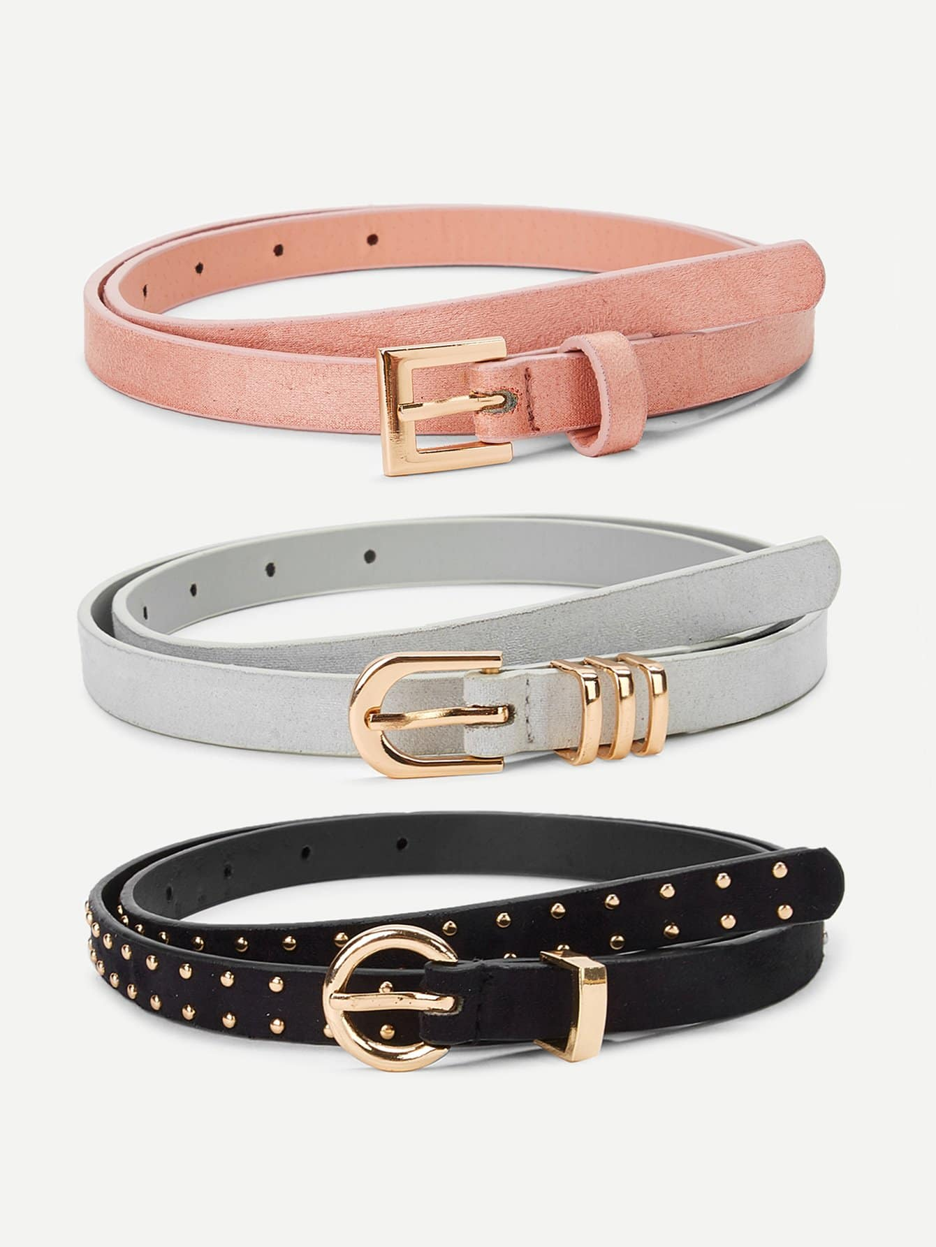 Pearl Decorated Metal Buckle Belt 3 Pcs - FLJ CORPORATIONS
