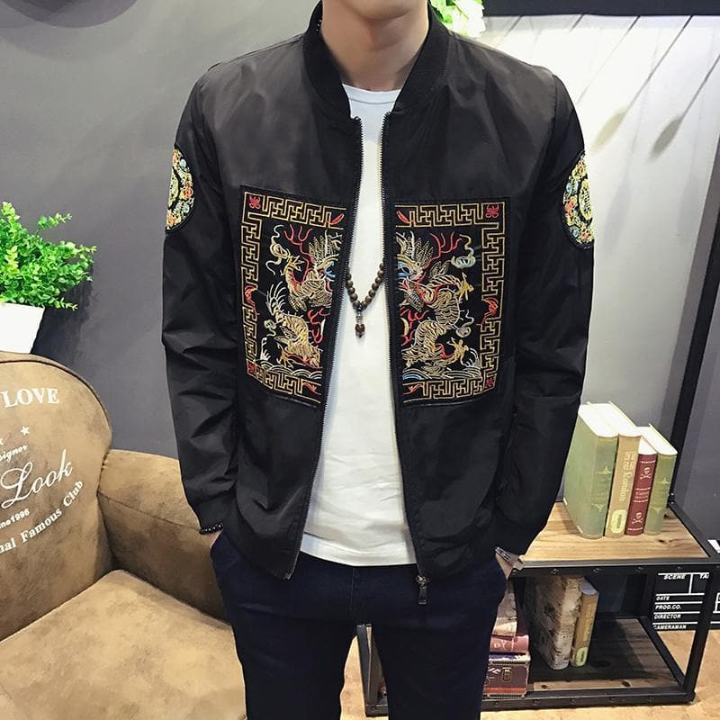 Spring Men Bomber Jacket New Fashion Chinese Long Pao Jackets Men Slim Fit Long Sleeve Casual Coats Windbreaker 5XL-M - FLJ CORPORATIONS